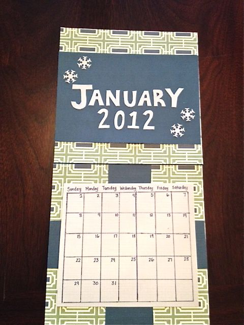 January 2012 Calendar DIY Scrapbooking