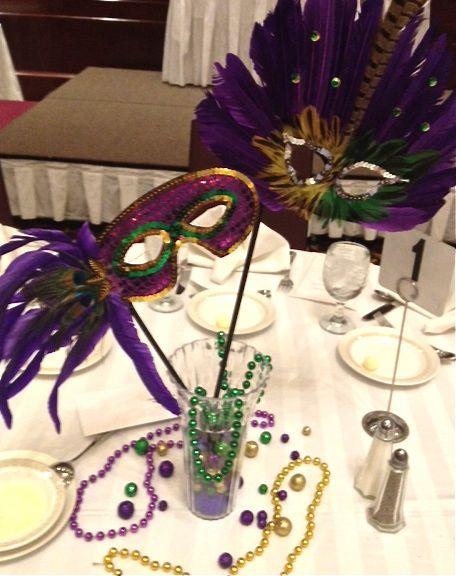 mardi gras centerpiece masks handmade diy