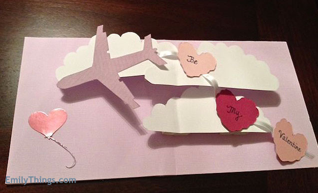 Pop Up Card Tutorial How to Make Valentines Day Airplane wHeart – Pop Up Valentines Day Card