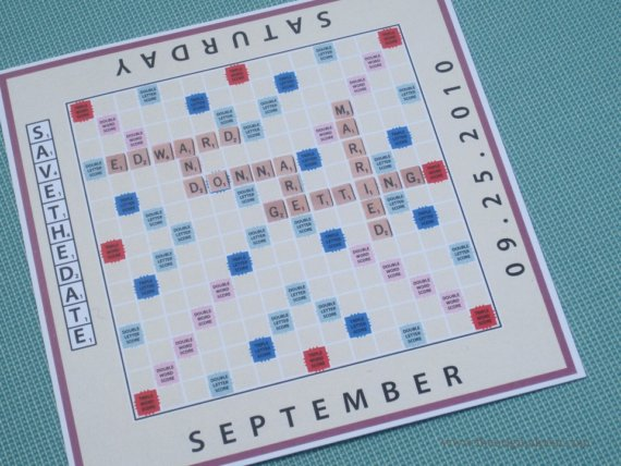 board game scrabble save the date unique card