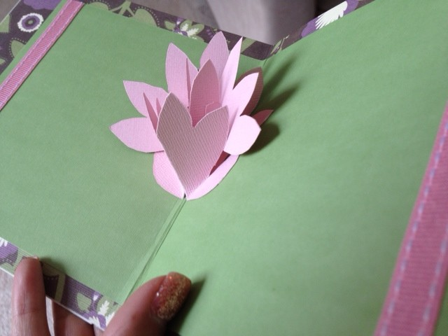 pop up flower card pink spring flower handmade