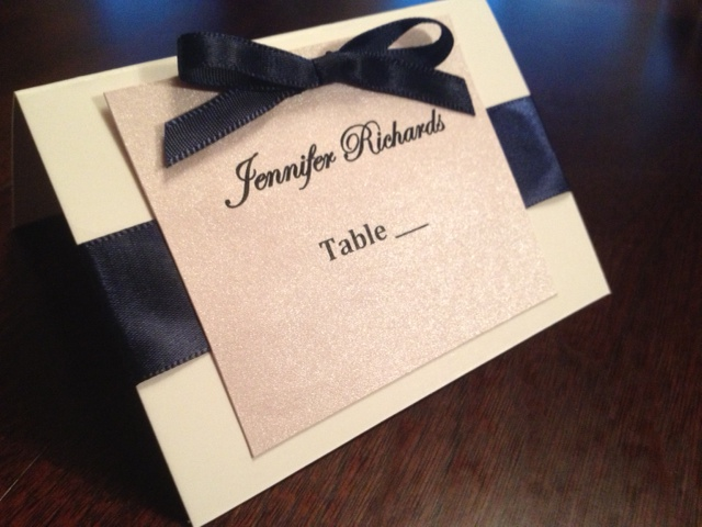 navy pink white place card wedding bridal shower