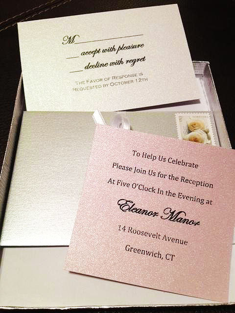 pink and white boxed wedding invitations formal