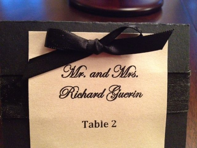 wedding place card black tie