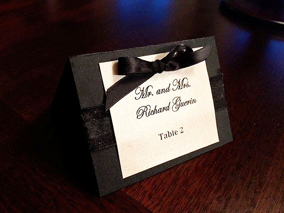 wedding place card black tie black and white