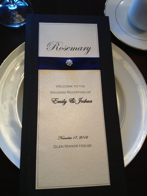 elegant wedding menu black tie formal menu card