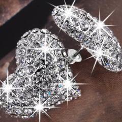 jewelry diy cheap rhinestone heart stud earrings wedding