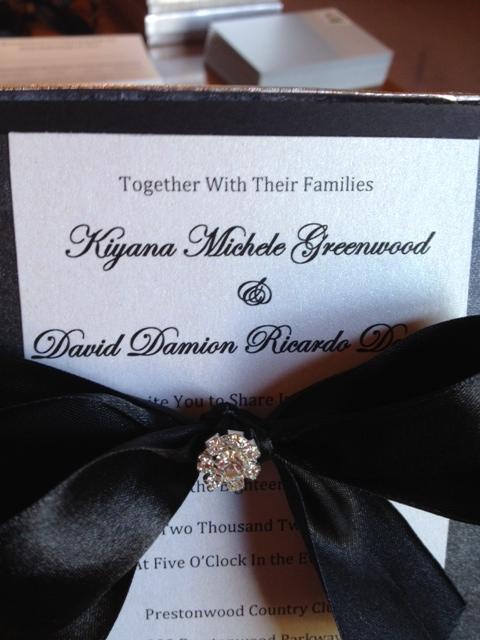 DIY Rhinestone Wedding Invitation Formal Couture Boxed Invites Black White Silver