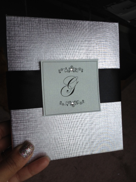 DIY monogram rhinestone ribbon buckle boxed wedding invitations black tie formal silver