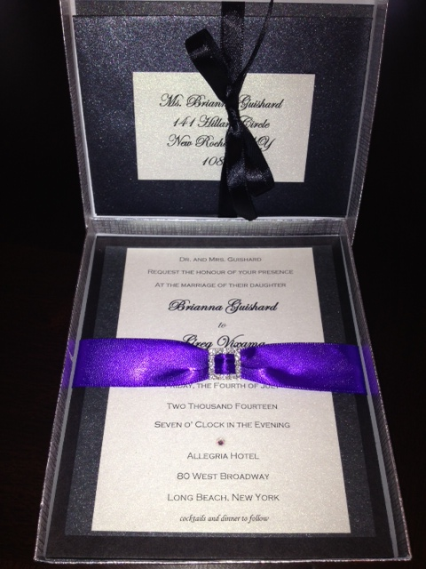 BoxedWeddingInvitationPurpleSilverRibbon
