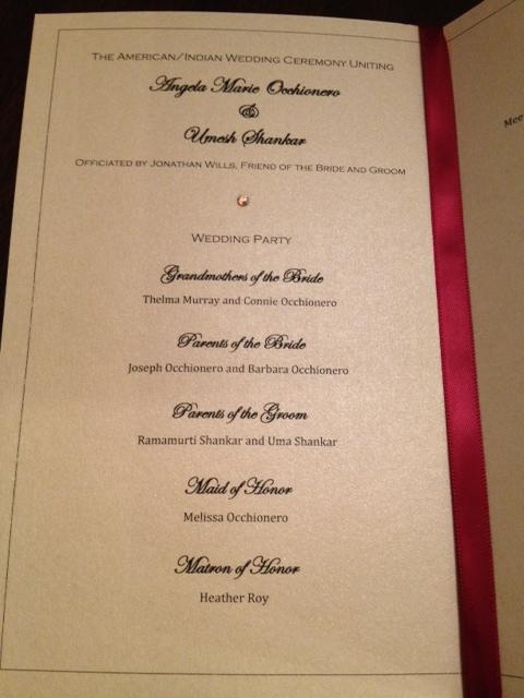 Elegant Indian Wedding Programs Gold Red Shimmer Sparkle Glamorous