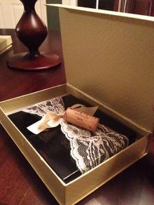 Boxed Wedding Invitation Napa valley destination wedding unique invitation gold wine cork lace vintage