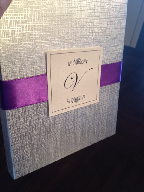 SilverBoxedWeddingInvitationPurpleRibbon