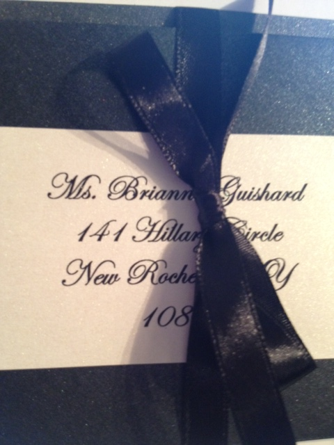 WeddingInvitationBoxRibbonBlackTie