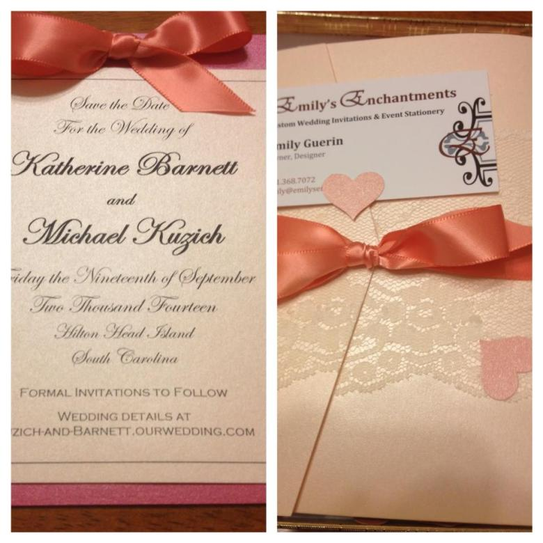 wedding invitations Rhode Island hot pink coral lace wedding invitations